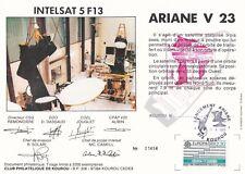 T84 Doc philatélique ESPACE ARIANE Vol 23 INTELSAT 5 F1 Numéroté KOUROU 17/15/88