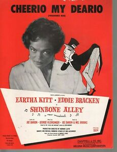 Cheerio My Deario 1957 Eartha Kitt Shinbone Alley Sheet Music