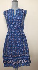 New J.Crew Blue #C9329 Flower Printed 100% Silk Vintage Scarf Dress Size 00