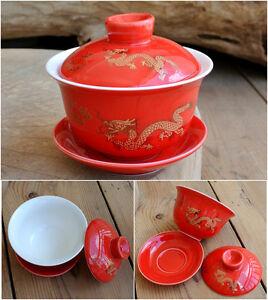 China/zisha gaiwan tea bowl lid saucer tureen blue-and-white porcelain cup set