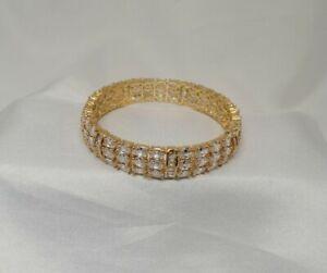 Indian Pakistani 1 Gold Plated Kara Bangle With White AMERICAN DIAMOND STONES