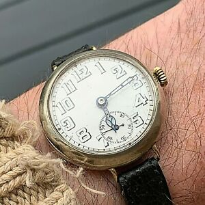 Antique Silver Trench Style Officers Watch With 15 Jewel Movement 33mm Case