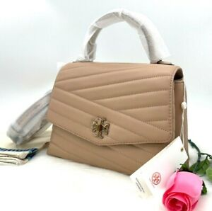 NWT $498 Tory Burch Kira Chevron Top Handle Devon Sand Quilted Leather Satchel