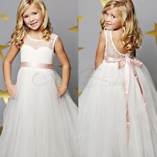 Kids Flower Girls Dress Bridesmaid Wedding Birthday Graduation Party Prom Gown