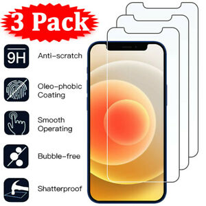 For iPhone 12 11 Pro X XR XS Max 8 7 6 Plus 3Pcs Tempered Glass Screen Protector