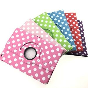 360° Rotatable Leather Polka Dot Skin Stand Cover Case for iPad Air 2