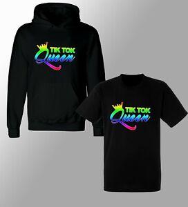 Rainbow TIK TOK QUEEN hoodie Girls tik tok T shirt tik toker Influencer Famous