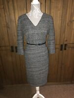 Phase Eight Ladies Size 16 Smart Grey Black Dress With Belt