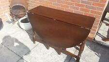 Large Dark Wood Drop Leaf / Double Gate Leg Dining Table in Good Condition