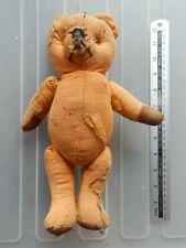 """Well LOved Almost Bald  Vintage Jointed Straw Filled Teddy Bear 12"""""""