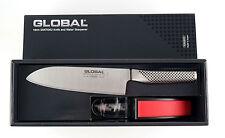 GLOBAL Santoku-Kochmesser + Messerschärfer Starterset in Geschenkbox G-46220BR