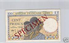 AEF CONGO BRAZZAVILLE 100 FRANCS SPECIMEN ND (1942) PICK 8 RARE !!!!