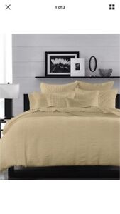 (2) Hotel Collection 100 % Cotton Pleated Stripe Taupe Standard Shams