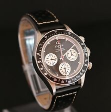 Alpha Chronograph Watch Seagull SG2903 Movement Glass Display Back Black Strap