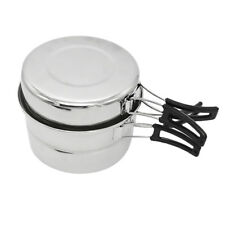 Outdoor Camping Hiking Picnic Cookware BBQ Cooking Pot Pan Steaming Rack Set