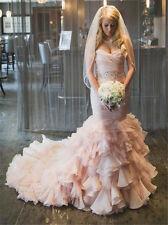Mermaid Hot Pink Wedding Dress Bridal Ball Gowns Custom Size 6 8 10 12 14 16 18+