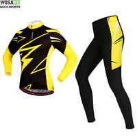 Long Sleeve Cycling Jersey Pants Set Breathable Tops Padded Trousers Bicycle Men