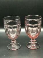Lot of 2 Libbey Duratuff Gibraltar Glasses Goblets Water Wine Mauve Pink 16 Oz.