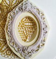 Grand Moule en Silicone 27x18cm Cadre Miroir Rose Baroque Vintage Pâte Polymère