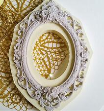 1 Grand Moule en Silicone 36x25cm Cadre Miroir Rose Baroque Vintage Pâte Polymèr
