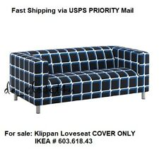 Ikea Cover for Klippan 2 seat Loveseat Couch Sofa Alvared Black Blue White BNOOP