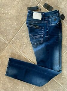 Buffalo Jeans Evan-X Slim Straight Stretch 32 x 34 Blasted & Crinkled Denim NWT