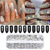 1 Box Crystal Rhinestone 3D Glitter Jewelry Glass Diamond Gems Nail Art Decor-RO