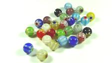 30 Perles Rondes 8mm en VERRE MILLEFIORI Multicolore Artisanales
