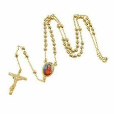 24K Gold Plated Cross Crucifix With Holy Mary Pendant Rosary Bead Necklace