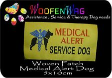 2 x WOVEN Medical Alert Service Dog patch - sew on