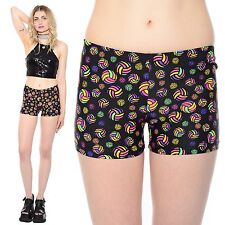 Vtg 90s Shiny NEON RAINBOW Short Shorts Abstract Print Sporty Club-Kid Rave S