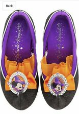 NEW Disney Store Minnie Mouse Black/Orange Witch Slip on Shoes Sz 5/6