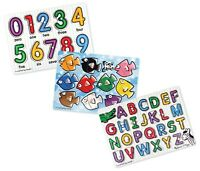 Melissa & Doug Classic Wooden Peg Puzzles, See-Inside Alphabet,Numbers,&Fish Mix