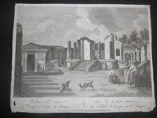 1805 ACQUAFORTE VINCENZO ALOJA VEDUTA DEL TEMPIO DI ISIDE A POMPEI DA FERGOLA