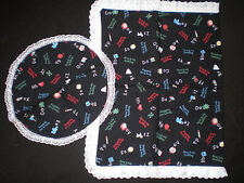 HANDMADE - Ragedy Ann & Andy Table Runner Set on Black w/White Lace - 2 pie