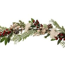 Sage Decor Hydrangea Berry Garland White Red 102cm
