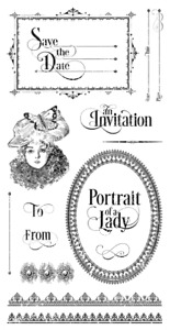 Graphic45 PORTRAIT OF A LADY #3 SET OF (15) CLING STAMPS scrapbooking