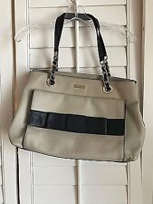 Kate Spade TAN Shoulder Bag With Gold Tone Chain And Bow