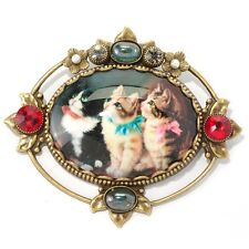 NEW SWEET ROMANCE VICTORIAN STYLE CHRISTMAS KITTENS PIN ~CUTE CATS ~~ USA MADE~~