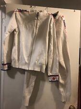 White Tennis Track Suit Windbreaker Jacket Track Pants