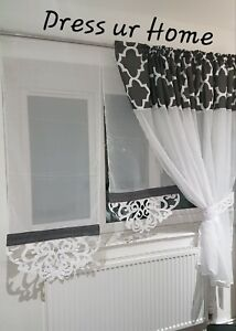 Amazing set net curtain with two panels white grey marocco style with tie-backs