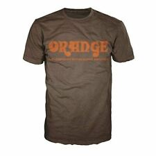 Orange Amplifiers Brown Retro Logo Fitted 100% Cotton T-Shirt, Men's Small - NEW