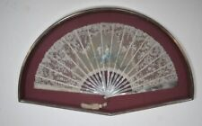 FINE ANTIQUE FRENCH HAND PAINTED CARVED MOTHER-OF-PEARL & LACE LEAF FAN – SIGNED