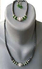 Halskette +Armkette+Ohrringe 3 er Set  mit Perlen in Grün Hämatit(BlutStein)