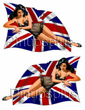 Pinup Girl Guitar Decals British Flag Union Jack #92