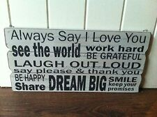 RETRO WALL HANGING SIGN 'ALWAYS SAY I LOVE YOU ...' WOOD CREAM LIFE RULES