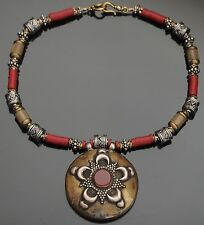 TURKOMAN Afghan Vintage Tribal Necklace Medallion Pendant Silver Carnelian
