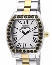 New Women's Invicta 14531 Angel Swiss Black Crystal Silver Dial Two Tone Watch