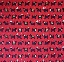 Red Polycotton Fabric Black Green Scottie Dog with White Star Detail (Per Metre)