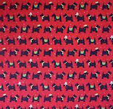 In Policotone Rosso Nero e Verde Scottie Dog con dettaglio stella bianca (al metro)